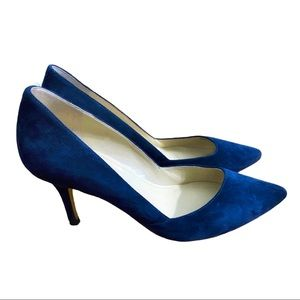 Marc Fisher Pointed Toe Suede Pumps Blue Sz 6.5